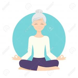 51737527-ヨガの練習を練習する年配の女性のイラスト。健康的なライフ-スタイル。[1]